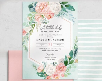 Mint and Coral Floral Baby Shower Invitation, Little Lady Baby Shower Digital Invite Template, Instant Download [id:4479589,4479599]