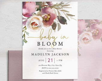 Baby In Bloom Floral Baby Shower Invitation, Watercolor Floral Baby Shower Digital Invite Template, Shower Instant Download [id:5214296]