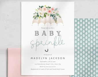 Umbrella Baby Sprinkle Invitation, Rain Baby Shower Digital Invite Template, Rain Drop Baby Shower Instant Download [id:4451413,4451874]