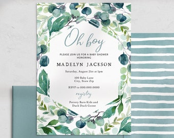 Blue and Green Baby Shower Invitation, Foliage  Baby Shower Digital Invite Template, Baby Boy Shower Instant Download [id:4462273,4462420]