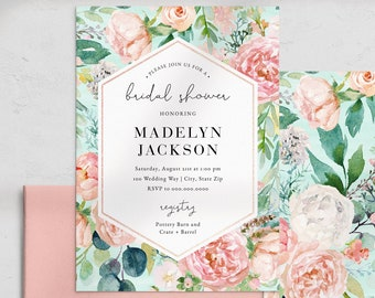 Mint and Coral Floral Bridal Shower Invitation, Rose Gold Hexagon Bridal Shower Invite Template, Instant Download [id:4460705,4460883]