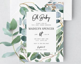 Greenery Watercolor Baby Shower Invitation, Eucalyptus Baby Shower Invitation, Baby Boy Shower, Modern Baby Shower Envelope Liner