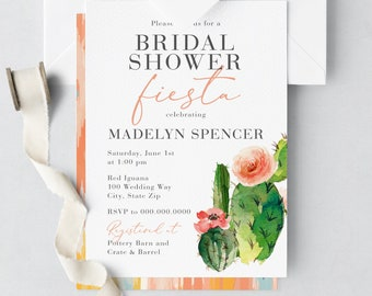 Watercolor Cactus Fiesta Bridal Shower Invitations, Digital or Printed Invitations