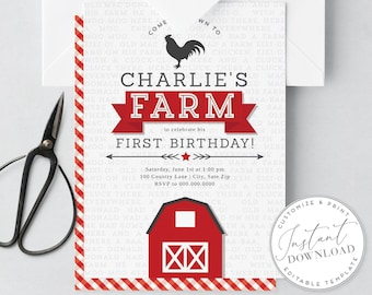 DIY Digital Farm Birthday Party Invitation, Petting Zoo Invitation, Farm Animal Party Invite [id:1953136,1953146]