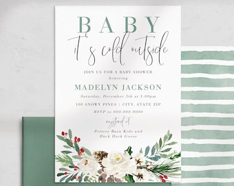 Baby It's Cold Outside Baby Shower Invitation, Winter Baby Shower Digital Invite Template, Christmas Greenery Instant Download [id:5178664]