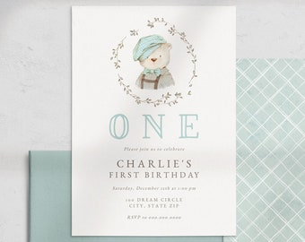 Polar Bear Birthday Invitation, Little Man Winter Birthday Party Digital Invite Template, First Birthday Party Instant Download [id:5267428]