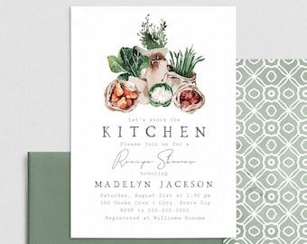 Kitchen Garden Recipe Shower Invitation, Cooking Shower Digital Invite Template, Couples Shower Instant Download [id:4411603,4411675]