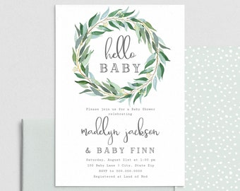 Eucalyptus Baby Shower Invitation, Sage Green Baby Shower Invite Template, Hello Baby Sip & See Shower Instant Download [id:4411076,4411282]