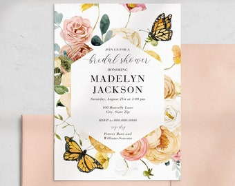Butterfly Floral Bridal Shower Invitation, Butterflies and Flowers Bridal Shower Invite Template, Instant Download [id:4453455,4453521]