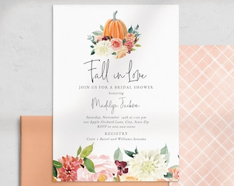 Fall in Love Bridal Shower Invitation, Autumn Bridal Shower Invite Template, Harvest Bridal Shower Instant Download [id:5140997]