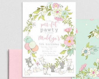 Kitty Cat Birthday Party Invitation, Kitty Pawty Invite Template, Cat themed Birthday Party Invitation Instant Download [id:4403897,4404051]