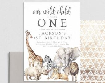 Safari Birthday Party Invitation, Wild Child Invite Template, Wild One Birthday Party Invitation Instant Download [id:4417509,4417543]