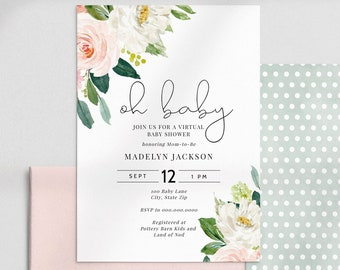 Blush Pink Floral Baby Shower Invitation, Virtual Baby Shower Digital Invite Template, Instant Download [id:4446498,4446713]