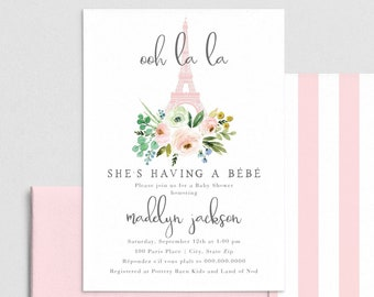 Paris Baby Shower Invitation, French Baby Shower Invite Template, Eiffel Tower Baby Shower Instant Download [id:4416963,4417001]