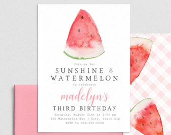 Summer Watermelon Birthday Party Invitation, Summer Birthday Invite Template, Birthday Invitation Instant Download [id:4421596,4421597]
