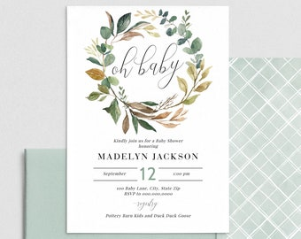 Sage Green Baby Shower Invitation, Magnolia and Eucalyptus Baby Shower Digital Invite Template, Instant Download [id:4445074,4445274]