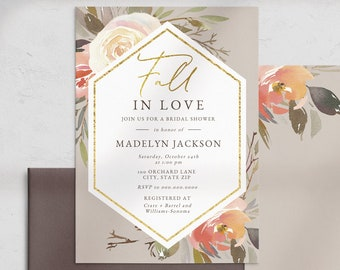 Fall In Love Bridal Shower Invitation, Autumn Bridal Shower Invite Template, Neutral Watercolor Floral Bridal Instant Download [id:5213625]