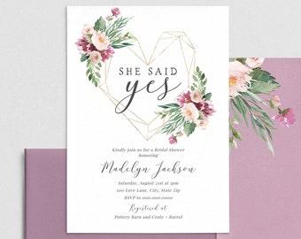 Gold Heart Floral Bridal Shower Invitation, She Said Yes Floral Bridal Shower Invite Template, Instant Download [id:4436871,4436630]