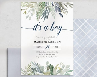 Blue It's a Boy Baby Shower Invitation, Foliage  Baby Shower Digital Invite Template, Baby Boy Shower Instant Download [id:4452316,4452318]