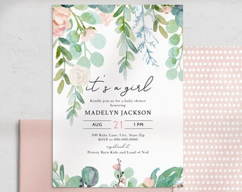 Mint and Coral Floral Baby Shower Invitation, It's a Girl Baby Shower Digital Invite Template, Instant Download [id:4461099,4461107]