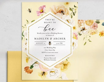 It's Meant to Bee Couples Shower Invitation, Bee Wedding Shower Invite Template, Bride to Bee Instant Download [id:4478870,4479158]