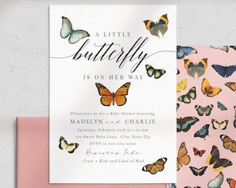 Butterfly Baby Shower Invitation, Butterfly Baby Shower Digital Invite Template, Monarch Baby Instant Download [id:5863602]