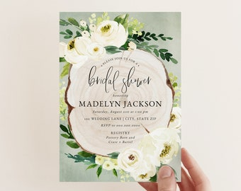 Rustic White Floral Bridal Shower Invitation, Sage and Ivory Bridal Shower Invite Template, Bridal Shower Instant Download [id:5251669]