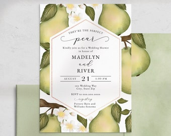 Perfect Pear Wedding Shower Invitations, Couples Shower Invites, Wedding Party Invitation, Instant Download [id:4544590,3921013]