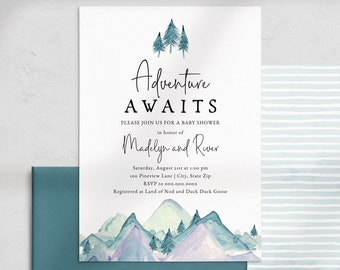 Adventure Awaits Baby Shower Invitation, Mountain Pine Tree Baby Shower Digital Invite Template, Instant Download [id:4534295,4534471]
