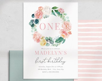 Mint and Coral Floral First Birthday Party Invitation, Flower Birthday Invite Template, Instant Download [id:4463214,4463217]