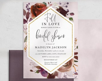 Plum Fall in Love Bridal Shower Invitation, Autumn Bridal Shower Invite Template, Harvest Bridal Shower Instant Download [id:5188282]