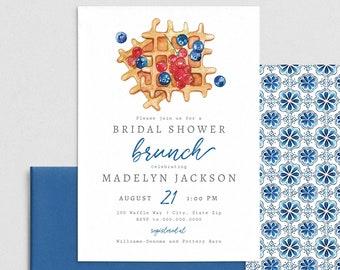 Bridal Shower Brunch Invitation, Bridal Shower Breakfast Digital Invite Template, Waffles and Berries Instant Download [id:4406591,4406784]
