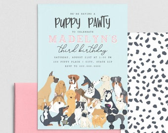 Puppy Birthday Party Invitation, Puppy Pawty Invite Template, Dog themed Birthday Party Invitation Instant Download [id:4401105,4401208]