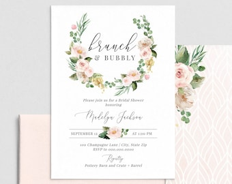 Brunch & Bubbly Bridal Shower Invitation, Champagne Grape and Floral Bridal Shower Invite Template, Instant Download [id:4434975,4435023]