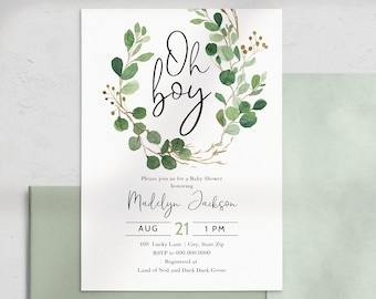 Green Oh Boy Baby Shower Invitation, Eucalyptus Baby Shower Digital Invite Template, Baby Boy Shower Instant Download [id:4452993,4452999]