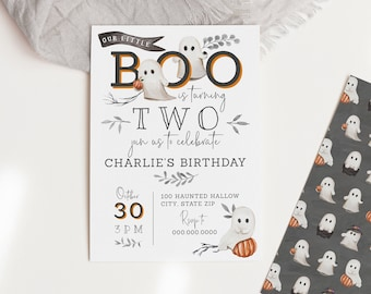 Customizable Little Boo Halloween Birthday Invitation, Ghost Birthday Party Invite Template, Costume Party Instant Download [id:8679154]