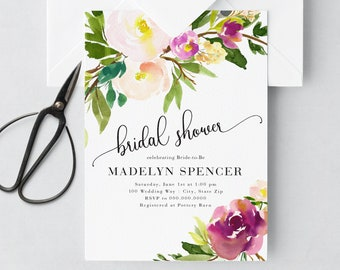 Boho Loose Watercolor Floral Bridal Shower Invitation, Flower Bridal Shower Invite, Boho Bridal Shower Invite, Envelope Liner
