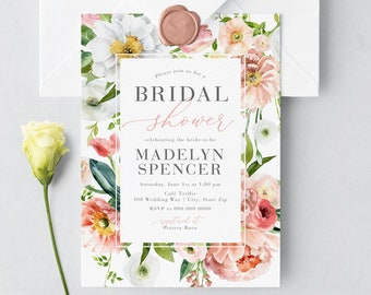 Peony Bridal Shower Invitation, Spring Bouquet Bridal Shower Invite, Bridal Shower Invite, Envelope Liner