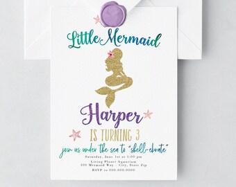 Modern Mermaid Birthday Party Invitation, Little Mermaid Birthday Invitation, Under the Sea Birthday Invite, Envelope Liner