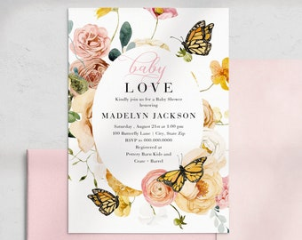 Butterfly Baby Shower Invitation, Flowers and Butterflies Baby Shower Digital Invite Template, Instant Download [id:4453902,4453521]