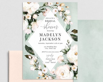 Beautiful White Rose Floral Bridal Shower Invitation, Sage Green Floral Bridal Shower Invite Template, Instant Download [id:4445898,4446033]