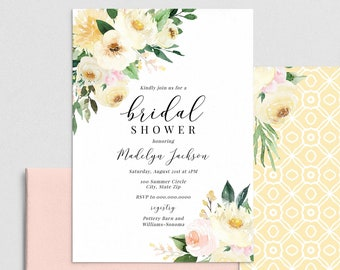 Buttery Yellow Floral Bridal Shower Invitation, Blush and Yellow Floral Bridal Shower Invite Template, Instant Download [id:4441385,4441415]