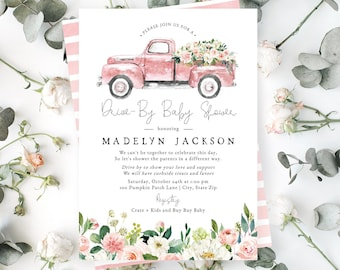 Flower Truck Drive By Baby Shower Invitation, Drive By Baby Shower Digital Invite Template, Baby Girl Shower Instant Download [id:5154757]