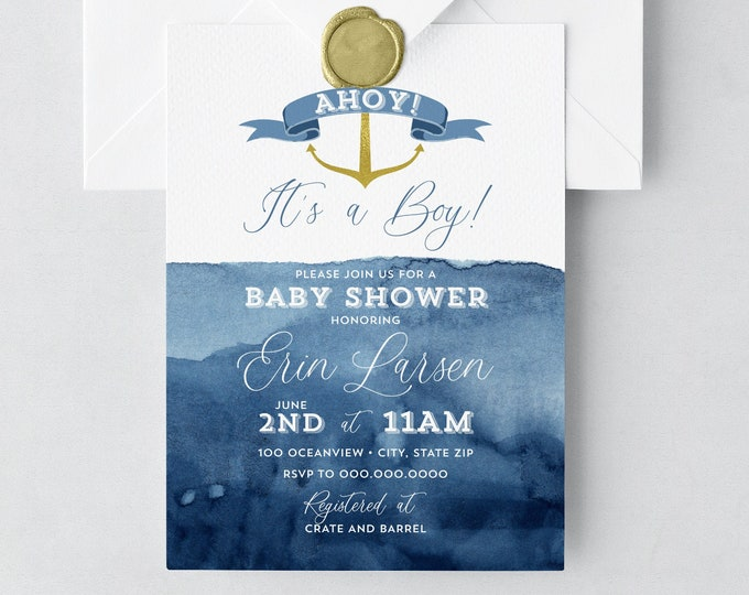 Ahoy, It's a Boy! Nautical Baby Shower, Gold Anchor Baby Shower, Boy Shower Invitation, Watercolor Shower Invite, Lined Envelope