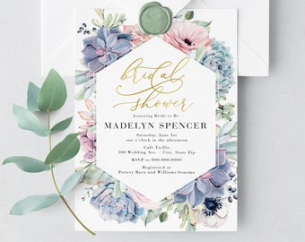 Succulent Bridal Shower Invitation, Watercolor Succulent Bridal Shower Invite, Bridal Shower Invite, Envelope Liner