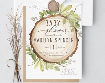 Rustic Woodland Baby Shower Invitation, Wood Slice Baby Shower, Baby Shower Invitation, Baby Boy Shower Invite, Lined Envelope