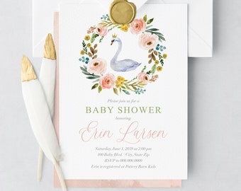 Swan Princess Baby Shower Invitation, Little Princess Baby Shower, Cute Baby Girl Shower Invite, Lined Envelope