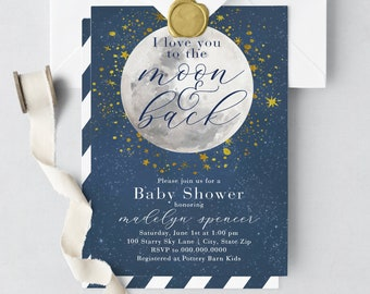 Love You to the Moon and Back Baby Shower Invitations, Over the Moon Baby Shower Invitation, Twinkle Twinkle Little Star Baby Shower Invite