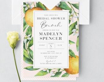 Brunch & Mimosas Bridal Shower Invite, Watercolor Orange Floral Bridal Shower Brunch Invitation, Envelope Liner