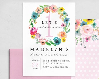 Pink Floral Birthday Invitation Template, Customizable Birthday Party Invitation, Editable Bright Flower Party Digital Invite [id:7237403]
